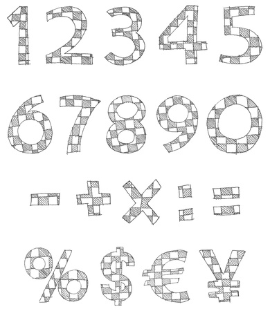 hand written: Hand written checkered numbers and math signs