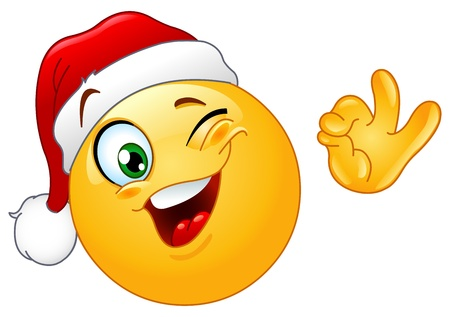 Winking emoticon wearing Santa hat Vector