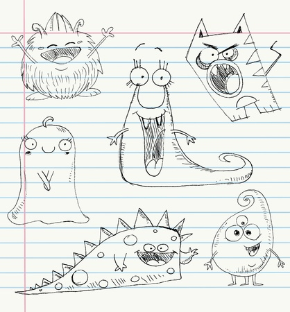 Vector monster doodles on a notebook paper. Set number 1 Vector