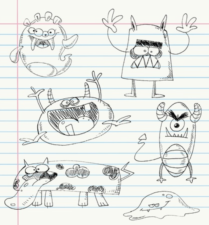 Vector monster doodles on a notebook paper. Set number 2