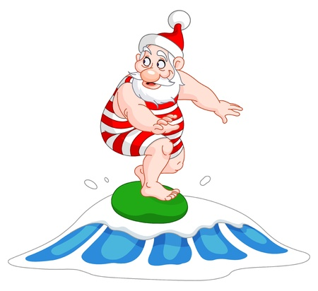 cartoon santa: Santa surfing