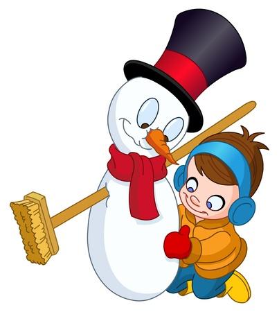ropa de invierno: Niño pequeño haciendo un muñeco de nieve