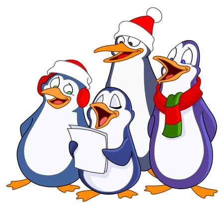 Caroling penguins Stock Vector - 11057349