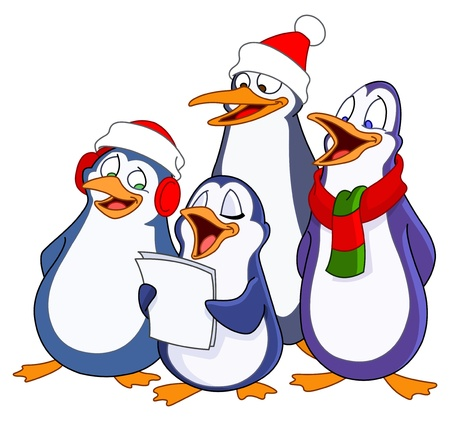 aves caricatura: Entonando pingüinos Vectores
