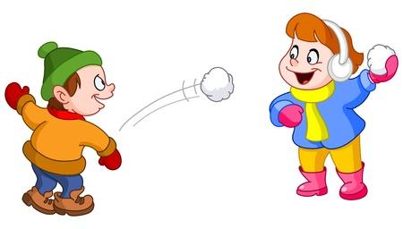 palle di neve: I bambini lanciando palle di neve a vicenda Vettoriali