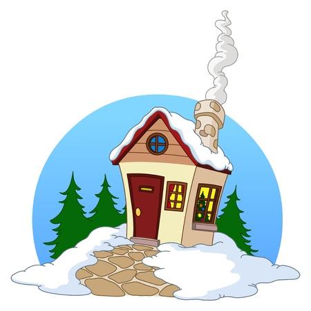 chalets: Winter house Illustration