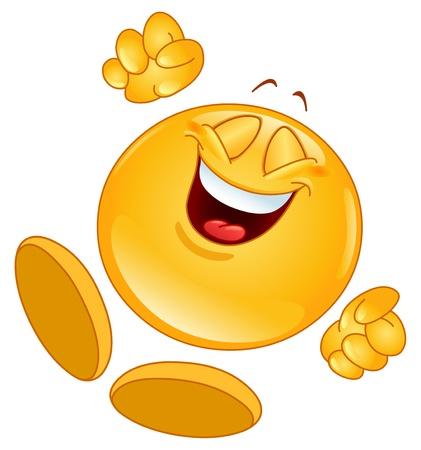 smiley: Vrolijke emoticon springen in de lucht Stock Illustratie