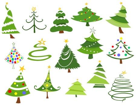 luces navidad: Conjunto de �rboles de Navidad Vectores