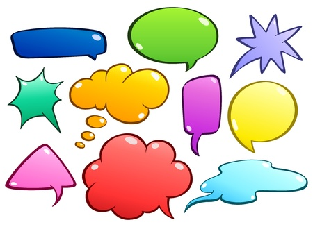 word balloon: Colorful speech bubbles set