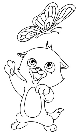 dibujos para colorear: Indica gatito y mariposa Vectores