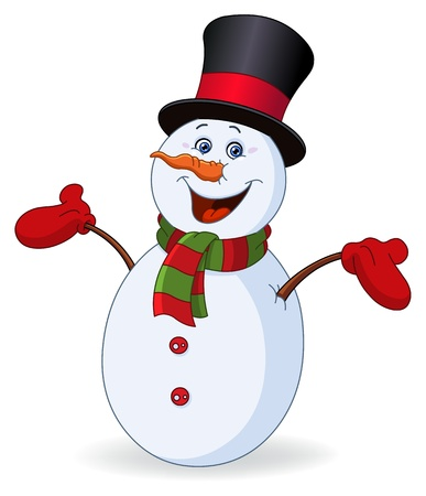 snowman isolated: Cheerful snowman