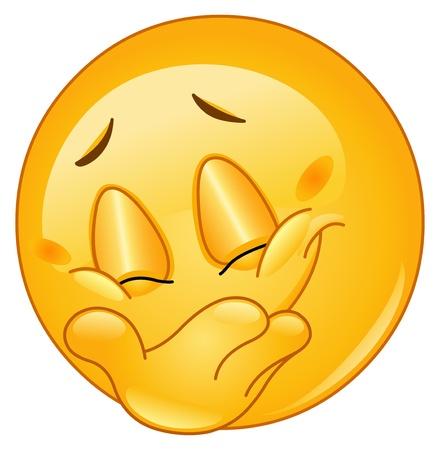 cara sonriente: Emoticon ocultar su sonrisa Vectores