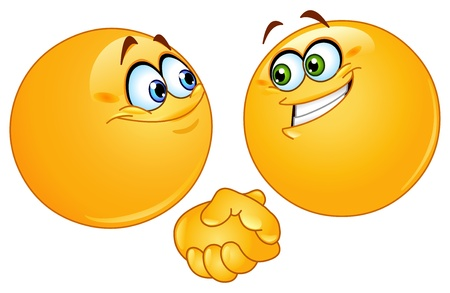 emotions faces: Two emoticons shaking hands Illustration