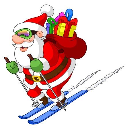 papa noel en trineo: Esquí de Santa Vectores