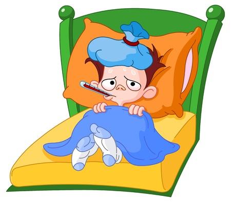 Ziek kind liggend in bed Vector Illustratie