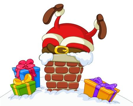 Kerstman vast te zitten in een schoorsteen Stock Illustratie