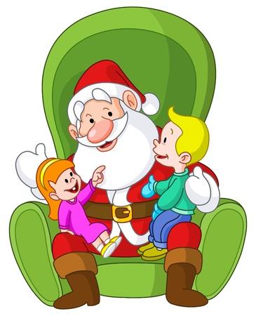 granddad: Happy kids sitting on Santa's lap Illustration