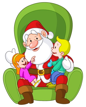 on lap: Happy kids sitting on Santa�s lap