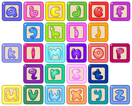 Colorful lower case alphabet blocks Stock Vector - 11376114