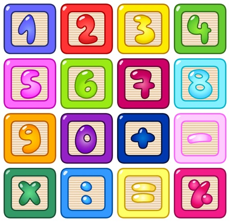 math: Colorful number blocks Illustration