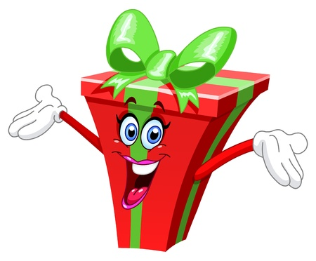 happy emoticon: Cartoon gift