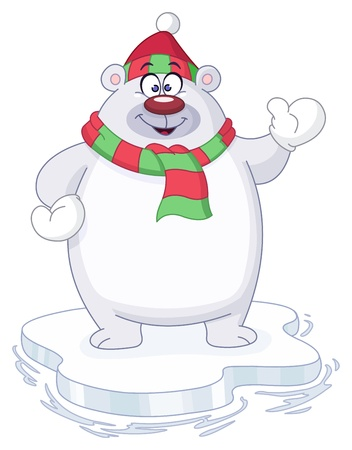 polar bear on the ice: Winter polar bear Illustration