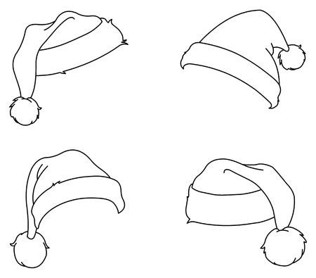 santa outfit: Outlined Santa hats Illustration