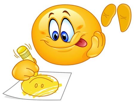 cara sonriente: Emoticon lindo dibujo de una cara sonriente