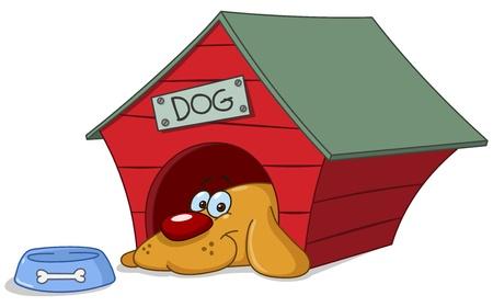 perro caricatura: Perro sonriente en su casa de perro