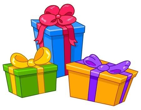 Cartoon Geschenke. Alle Geschenke sind auf separaten Ebenen