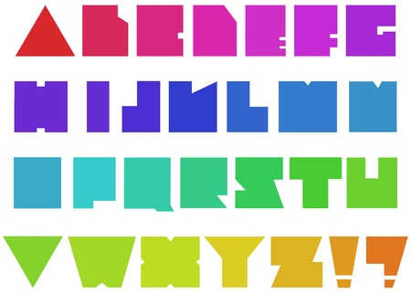 Colorful square alphabet  Vector
