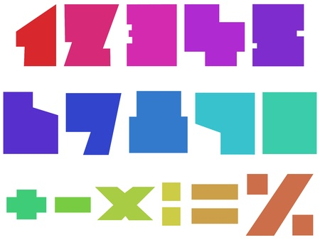 Colorful square numbers Stock Vector - 11615502