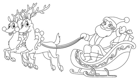 black and white line drawing: Outlined Santa riding his sleigh