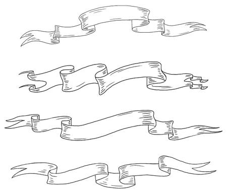 folded hand: Vector hand drawn vintage scrolls. set 2