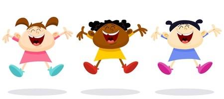 Multicultural young girls jumping in the air Vector