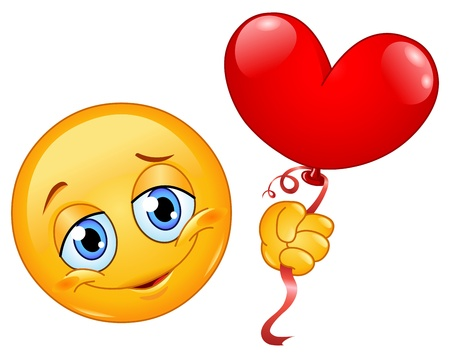 Emoticon holding a heart shape balloon