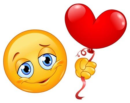 happy birthday heart shapes: Emoticon holding a heart shape balloon