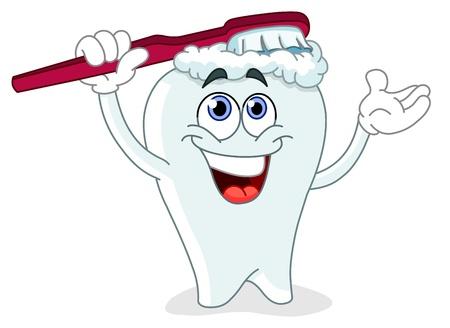 Cartoon tandenpoetsen zelf