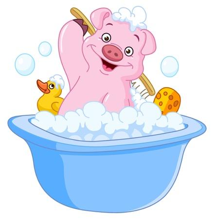 cartoon pig: Pig taking a bath