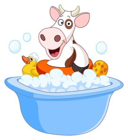 tub: Cow taking a bath