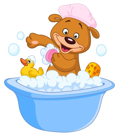 rubber ducks: Teddy bear taking a bath