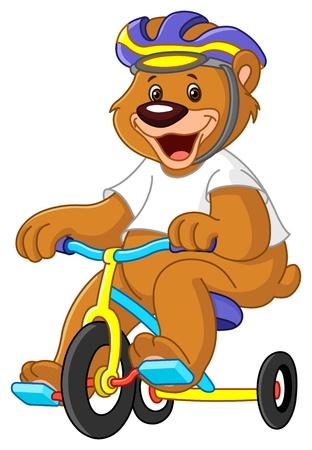 circus bike: Oso joven en triciclos