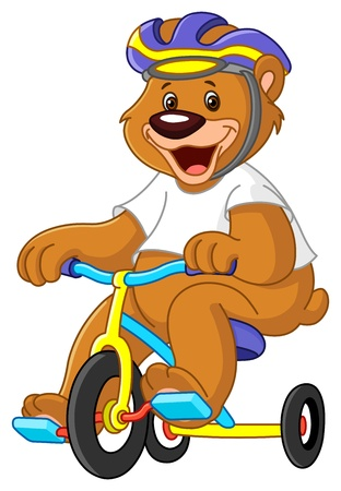Young bear on tricycles Vector
