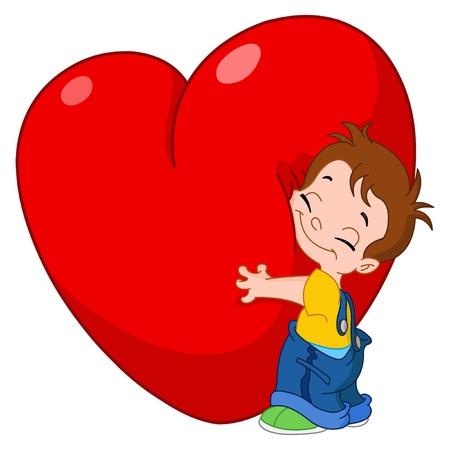 kid s illustration: Little kid hugging a big heart