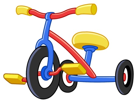 cute girl cartoon: Colorful tricycles