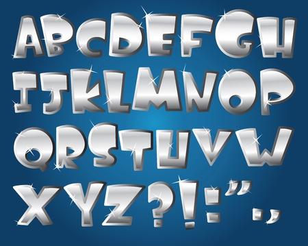 platinum background: Silver alphabet