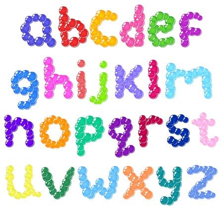 Lower case bubbles alphabet Vector