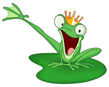 ユリのパッドに幸せなカエルの王子