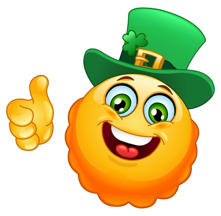 Leprechaun emoticon with thumb up Vector