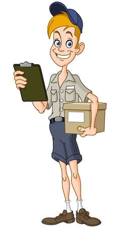 mailman: Smiling delivery man with a parcel and a clipboard